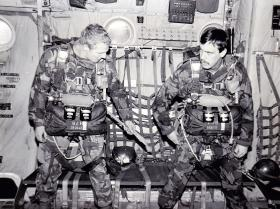 Russ Bishop and Ian Taylor. preparing to jump, C Coy, 2 PARA, 1980.