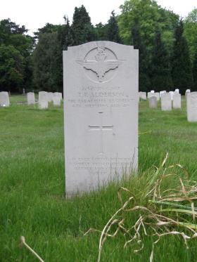 Headstone of Colour Sgt Tom Alderson, Aldershot Military Cemetery, June 2013.