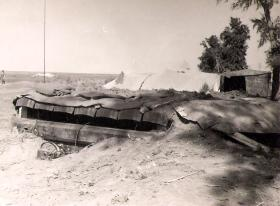 C Troop Command Post strengthened with sleepers from nearby railway track, El Cap 1956
