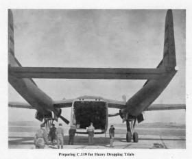 Preparing a C119 for Heavy Drop Trials c1953-54