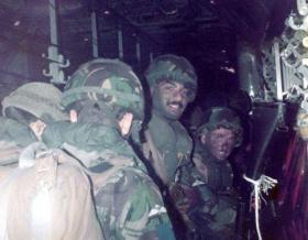 Pte Steve Gibson in C130 ready to jump on a 2 PARA exercise c1982.