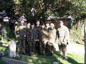 Cadets from 2 Troop Ryde Army Cadet Force at the grave of Pte Peter Grundy, November 2012.