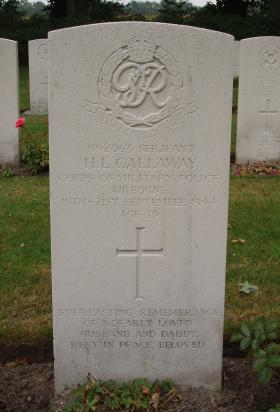 Headstone of Sgt 'Cab' Callaway Arnhem Oosterbeek War Cemetery September 2009