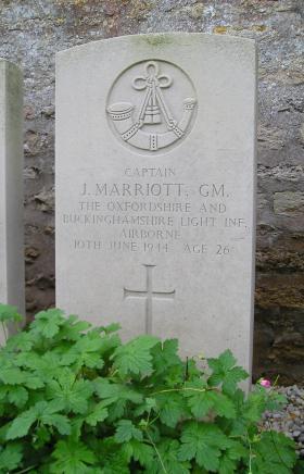Headstone of Capt J Marriott, Herouvillette Cemetery, October 2010.