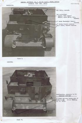 Document detailing the modifications required for the front interior of the Universal Carrier, AFDC, 1944.