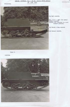 Document detailing the modifications required for the off side of the Universal Carrier, AFDC, 1944.