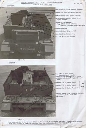 Document detailing the modifications required for the rear interior of the Universal Carrier, AFDC, 1944.