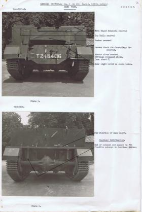 Document detailing the modifications required for the rear of the Universal Carrier, AFDC, 1944.