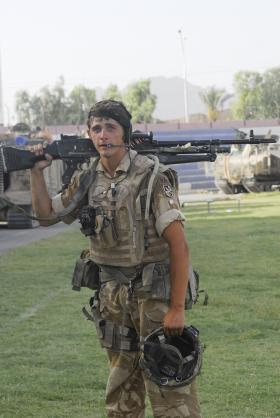 3 PARA soldier carrying a GPMG, Kandahar, Afghanistan, 2008