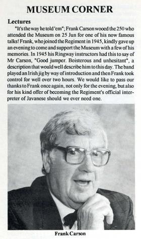 Pegasus Journal article on Frank Carson, December 1996.