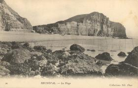 Postcard view of Bruneval Beach including the Beach Fort, pre-war c1920s.