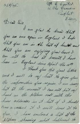 Letter from Sgt Carter to Lt Douglass, listing men in his Platoon, 4 May 1945.