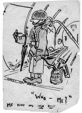 Cartoon of L/Cpl Bixby c1945