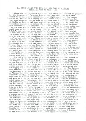 Personal account of 2nd Independent Parachute Brigade at Cassino