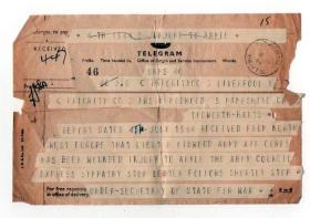 Casualty telegram for Lt Bob Midwood, Normandy, July 1944.