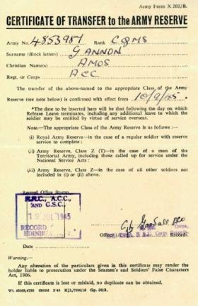 Certificate of Transfer to the Army Reserve for CQMS Gannon. September 1945.