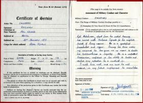 Cpl Hatchman's Certificate of Service.