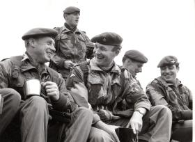 Rev Paul Abram chats to soldiers of 3rd Battalion The Parachute Regiment, June 1969.