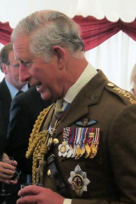 HRH Prince of Wales talks to next of kin at the National Memorial Arboretum, 13 July 2012.