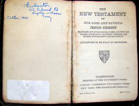 Army Issue Bible given to Charles Buckmaster, 1940.