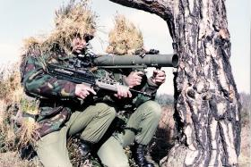 Paratroopers armed with a Carl Gustav on exercise, circa 1980s