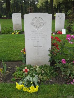 Headstone of Pte SA Chennell, Arnhem Oosterbeek War Cemetery, 2012.