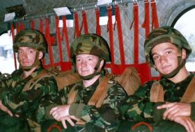 Middle: James Dowling, 10 (Airborne) Field Workshop REME, ready to jump from a Chinook, 1987.