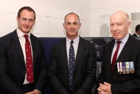Maj Matt Taylor, Chris Willmott and Maj Gen D Farrar-Hockley MC at the Dedication of the Prior Room, Catterick, 2011