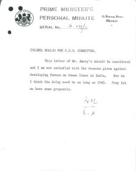Minute from Churchill to Colonel Hollis about the development of airborne forces.