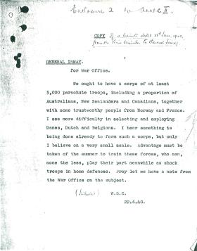 Letter from Churchill to Ismay requesting corp of 5,000 parachute troops.