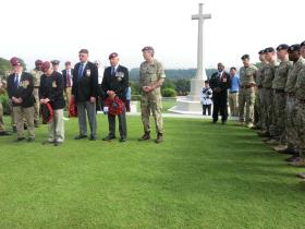 Veterans accompanied by Gil Boyd BEM and Major General James Bashall CBE, at Kranji Cemetery, April 2015.