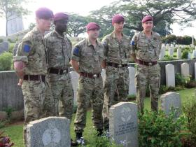 Serving members of 2 PARA with Major General Bashall CBE at Kranji Cemetery, April 2015.