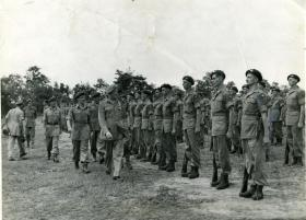 Commander-in-Chief Gen Sir Claude Auchinlek inspects the 15th (Kings) Battalion, Bilaspur, India, April 1946