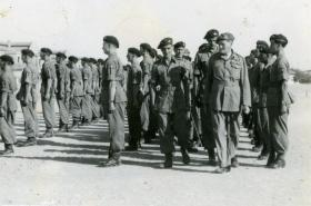 Commander-in-Chief Gen Sir Claude Auchinlek completes his inspection of 15th (Kings) Battalion, Bilaspur, India, April 1946