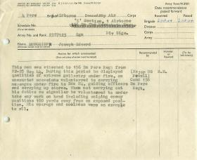 Citation for Military Medal for Sglmn Moncrief for his actions at Arnhem, Oct 1944