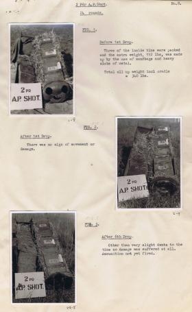 CLE Mk1 containing 2 Pdr Armour-piercing (AP) Shot, before and after drop.