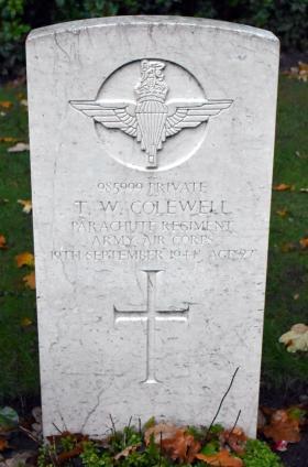 Gravestone of Pte T W Colewell, Oosterbeek War Cemetery, Arnhem.