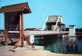 Colour postcard of Pegasus Bridge, 1969.
