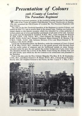Pegasus article on presentation of Colours to 10 PARA and 15 PARA, 1952.