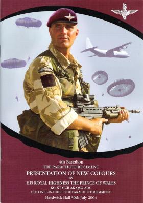 Cover page of the presentation of new colours to 4 PARA booklet, Hardwick Hall, 30 July 2004.