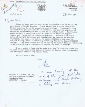 Letter regarding selection of Battle Honours for Colours, 28 June 1956.
