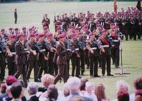 Lt-Col Shaw leading 2 PARA during the parade at the Presentation of the Colours, Queens Avenue, Aldershot. 1998.