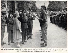 The King and Queen meet the RSMs of the regular battalions, Aldershot 19 July 1950.