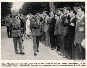 The King and Queen meet airborne forces veterans, Aldershot 19 July 1950.