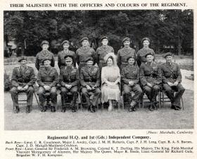 The King and Queen with senior officers and officers of RHQ PARA, Aldershot 19 July 1950.