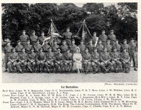 The King and Queen with officers of 1 PARA, Aldershot 19 July 1950.