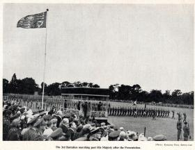 3 PARA march past HM King George VI after the presentation of the Colours, Aldershot 1950.