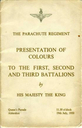 Booklet for the presentation of the Colours by HM King George VI, 19 July 1950.