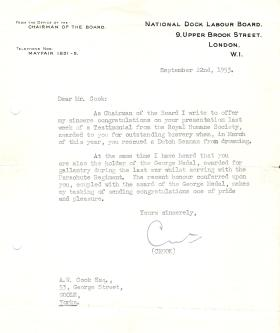 Letter of commendation to Mr A Cook, from the National Dock Labour Board, 1953