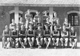 Group photograph of 2nd Independent Pathfinder Coy sports team, c1946.